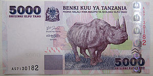 Flagship species -  5000 Tanzanian shillings bank note showing the use of the Black rhinoceros as a flagship species for the country's wildlife.