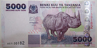 Flagship species - 5000 Tanzanian shillings bank note with Black rhinoceros as flagship for the country's wildlife