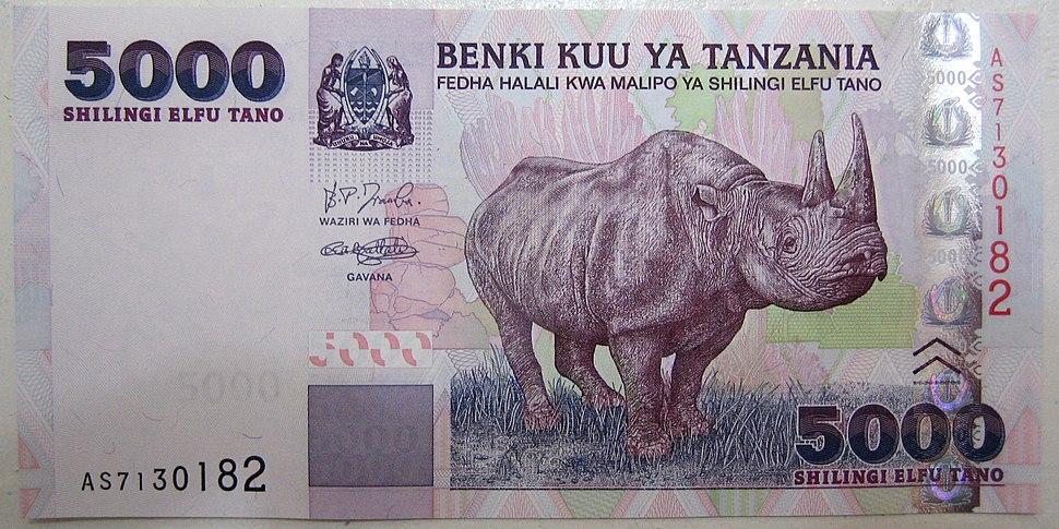 5000 tz shillings front
