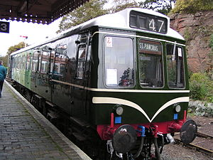 British Rail Class 127 - Class 127, no, 51625 at Bewdley on the Severn Valley Railway on 15 October 2004, whilst on display at the Railcar 50 event. This vehicle has been part-restored to its original condition, having been rebuilt as a parcels unit (numbered 55976) in 1985. This vehicle is preserved at the Midland Railway – Butterley, paired with driving motor 51591, and trailer 59609.