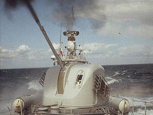 Bofors 57 mm gun - A Bofors 57 mm Mk 1 live-firing on the Swedish Spica-II Class FAC