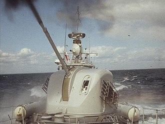 Bofors 57 mm L/70 naval artillery gun - A Bofors 57 mm Mk 1 live-firing on the Swedish Spica-II-class fast attack craft