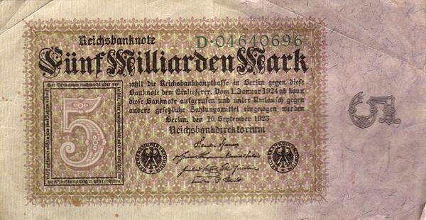Tysk femmiljarder sedel, 1930-talet