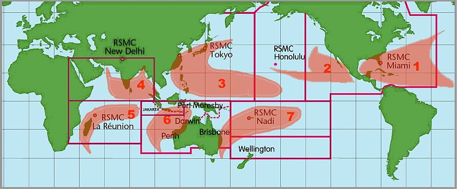 Areas of responsibility, showing the CPHC's area, containing part of the Eastern Pacific basin (2) and Western Pacific basin (3). 7 zones dels ciclons tropicals.jpg