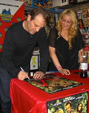 The Victim (2011 film) - Stars and co-producers Michael Biehn and Jennifer Blanc promoting the film during an August 23, 2012 appearance at Midtown Comics in Manhattan.