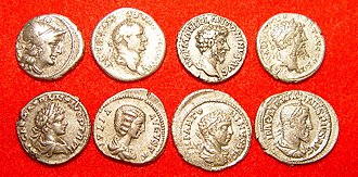 Denarius - Top row left to right: 157 BC Roman Republic, A.D 73 Vespasian, A.D 161 Marcus Aurelius, A.D 194 Septimius Severus;   Second row left to right: A.D 199 Caracalla, A.D 200 Julia Domna, A.D 219 Elagabalus, A.D 236 Maximinus Thrax