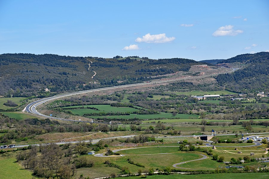 Autoroute A75, view from Castle of Sévérac, Aveyron, France