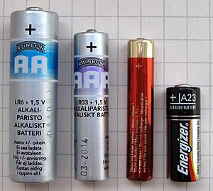 Voltage - Image: AA AAA AAAA A23 battery comparison 1