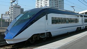 Keisei Narita Airport Line - Keisei AE series EMU on a Skyliner limited express services on the Narita Airport Line in June 2010