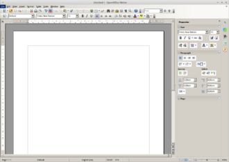 """Sidebar (computing) - OpenOffice Writer with an elaborate sidebar to the right, titled """"Properties"""""""