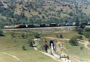 Tehachapi Loop - An eastbound Santa Fe train passes over itself on the loop in April 1987.