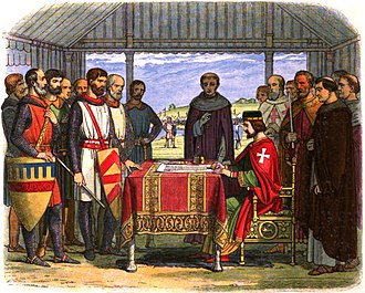 A romanticised 19th-century recreation of King John signing Magna Carta. Rather than signing in writing, the document would have been authenticated with the Great Seal and applied by officials rather than John himself. A Chronicle of England - Page 226 - John Signs the Great Charter.jpg
