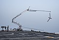 A ScanEagle unmanned aerial vehicle is recovered on the flight deck of the afloat forward staging base USS Ponce (AFSB(I) 15) during International Mine Countermeasures Exercise (IMCMEX) 13 in the U.S. 5th Fleet 130513-N-PX130-109.jpg