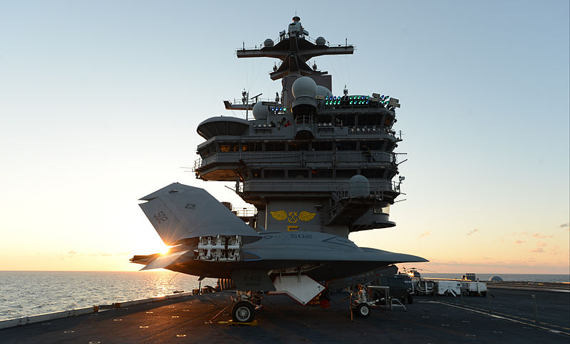 File:A U.S. Navy X-47B Unmanned Combat Air System demonstrator aircraft is lifted on an aircraft elevator aboard the aircraft carrier USS George H.W. Bush (CVN 77) May 14, 2013, in the Atlantic Ocean 130514-N-YZ751-184.jpg