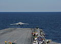 A U.S. Navy X-47B Unmanned Combat Air System demonstrator aircraft launches from the flight deck of the aircraft carrier USS George H.W. Bush (CVN 77) May 14, 2013, in the Atlantic Ocean 130514-N-EY632-057.jpg