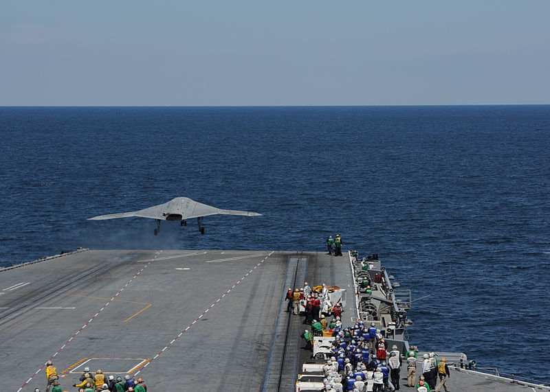 File:A U.S. Navy X-47B Unmanned Combat Air System demonstrator aircraft launches from the flight deck of the aircraft carrier USS George H.W. Bush (CVN 77) May 14, 2013, in the Atlantic Ocean 130514-N-EY632-057.jpg