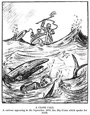 Industrial unionism - A cartoon from the September, 1919 IWW periodical One Big Union, published in Revolutionary Radicalism (a government publication), shows a worker swimming through shark-infested waters. The shark is labeled capitalism, the boat is industrial unionism, the life buoy is IWW, and the harpoon is direct action.