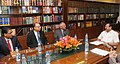 A delegation led by the Chief Justice of Nepal, Mr. Ramkumar Prasad Shah meeting the Union Minister for Law & Justice, Shri D.V. Sadananda Gowda, in New Delhi on March 17, 2015 (1).jpg