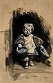A dwarf, or perhaps a child begging. Gouache drawing. Wellcome V0007425.jpg