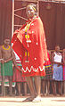 A lady from Karamoja shows a dress that is mproved from their local knowledge.JPG