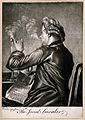A man lighting his pipe from a candle while holding a newspa Wellcome V0019067.jpg