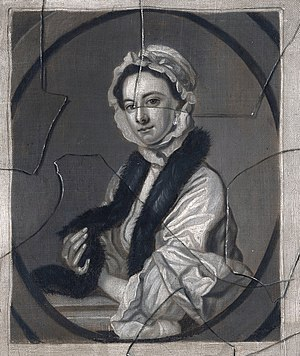 John Faber Jr. - A painted trompe l'oeil with a portrait of Mrs Faber (after Thomas Hudson)