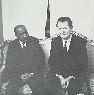 North Yemen Civil War - Author Dana Adams Schmidt with President Sallal, March 1967