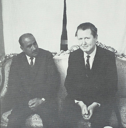 Author Dana Adams Schmidt with President Sallal, March 1967 Abdullah Sallal.jpg