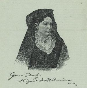 Abigail Scott Duniway - An engraving of Duniway in the middle of her career. Her signature appears below the engraving.