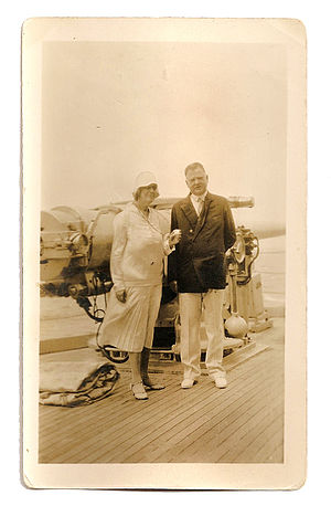 Presidency of Herbert Hoover - Lou and President-elect Hoover aboard the USS Utah in South America, December, 1928.