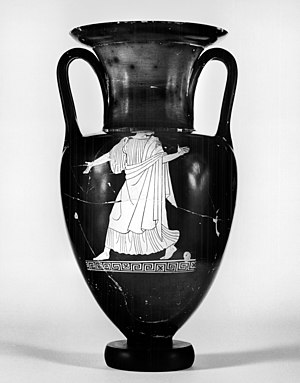 Nolan amphora - Image: Achilles Painter Nolan Amphora with Woman and Mantled Youth Walters 4854 Side A