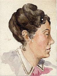 Acuarela representando a Rosalía de Castro por Alexandra Murguía (1859-1927) a súa filla