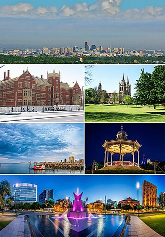 Adelaide - From top to bottom, left to right: Central Adelaide from Mount Lofty, the UniSA Building on North Terrace, St Peter's Cathedral, the beachside suburb of Glenelg, a rotunda in Elder Park, and Victoria Square illuminated in the evening