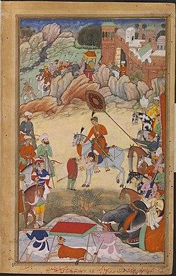 Adham Khan pays Homage to Akbar at Sarangpur, Akbarnama.jpg