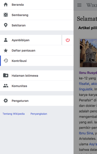 Screenshot of Advanced mobile contributions main menu updates on Indonesian Wikipedia