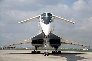 Tupolev Tu-144 - View of the front of the Tu-144, with the retractable canards deployed and lowered droop-nose