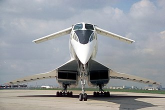 Tupolev Tu-144 - View of the front of the Tu-144, with the distinctive retractable moustache canards deployed and lowered droop-nose