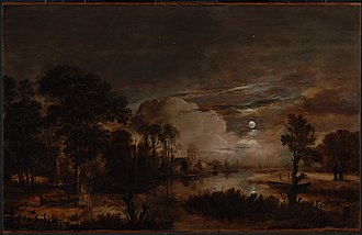 Aert van der Neer - Moonlit Landscape with a View of the New Amstel River and Castle Kostverloren (1647-49); Oil on wood; 57.5 × 89.9 cm,  Getty Center