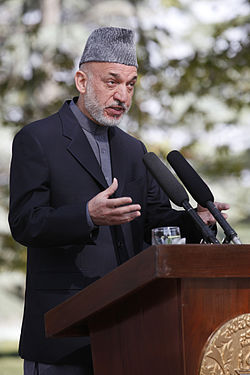 Afghan President Hamid Karzai gives remarks during a press conference with U.S. Secretary of State Hillary Rodham Clinton at the Presidential Palace in Kabul, Afghanistan 111020-S-PA947-1068.jpg