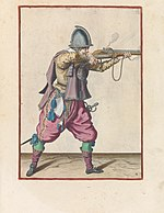Aiming soldier, workshop of Jacob de Gheyn (II), colored print, 1597-1607.jpg