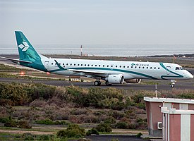 Air Dolomiti Embraer 195LR (I-ADJK) taxiing at Shannon Airport.jpg