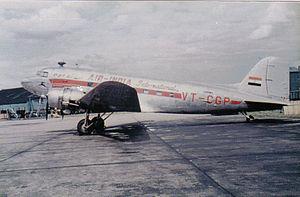 1947 Korangi Creek crash - Image: Air India DC 3 at Heathrow