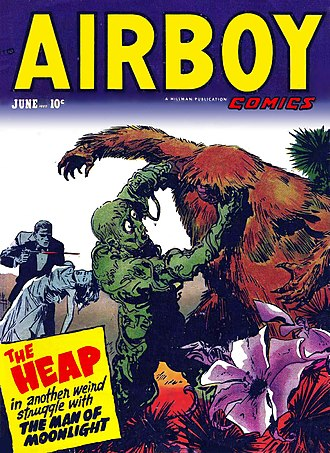 """It! (short story) - The Heap battles """"The Man of the Moonlight"""" on the cover of Airboy Comics, volume 9, number 5 (March, 1952). Artwork by Ernest Schroeder."""