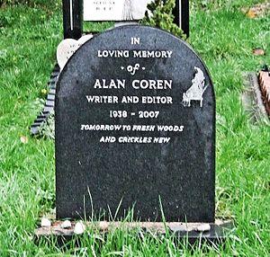 Alan Coren - The grave of Alan Coren, Hampstead Cemetery, London