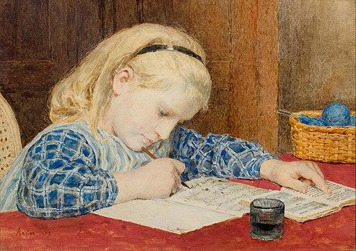 Albert Anker Schreibendes Mädchen 1902