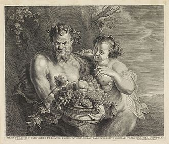 Alexander Voet the Younger - Satyr and Bacchante, after Rubens