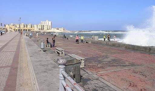 Alexandria - Corniche with crashing wave