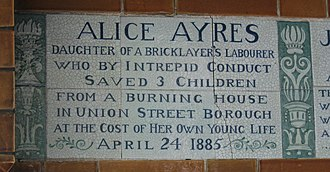Closer (2004 film) - The Alice Ayres tile in the Memorial to Heroic Self-Sacrifice, Postman's Park, London