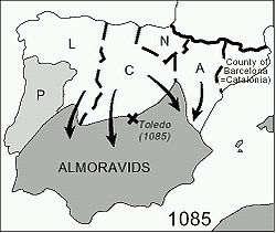 Map of the Iberian Peninsula at the time of the Almoravid arrival in the 11th century- Christian Kingdoms included Aragón, Castile, Leon, Navarre, and Portugal