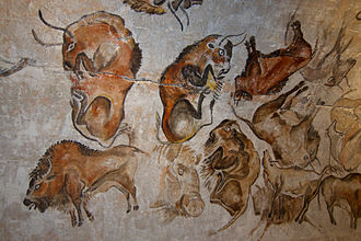 Cave painting - Paleolithic cave painting of bisons (replica) from the Altamira cave, Cantabria, Spain, painted c. 20,000 years ago (Solutrean).